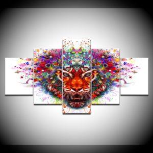 tableau tigre Rouge