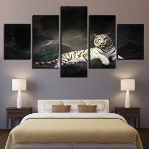Tableau Tigre Blanc dans la nuit