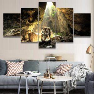 tableau tigre Fauve en Grotte
