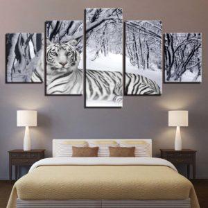Tableau Tigre Blanc dans la neige