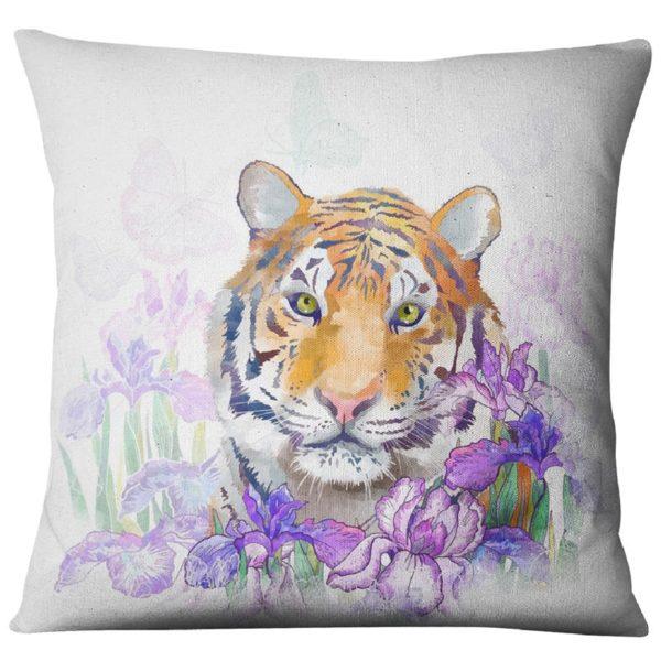 coussin tigre Fauve violette