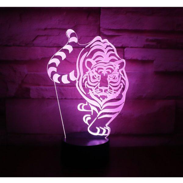 lampe tigre En chasse rose