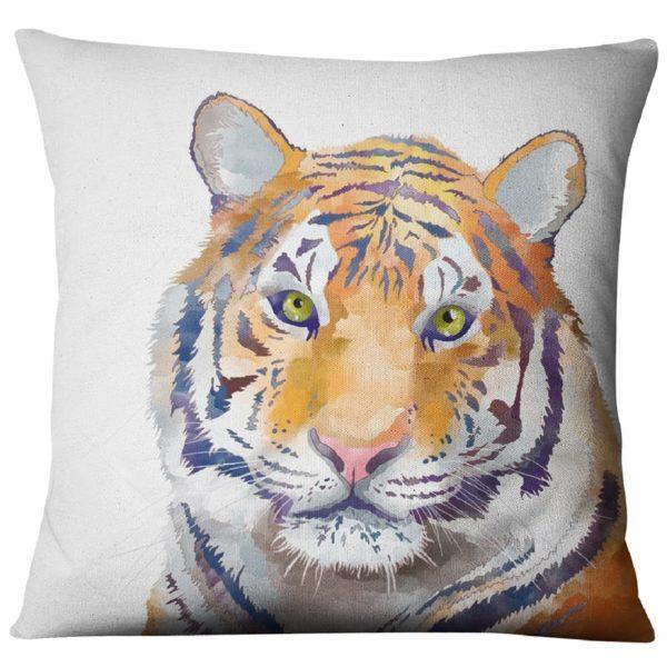 coussin tigre Curieux