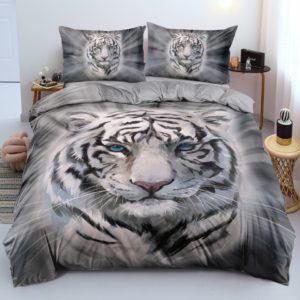 housse de couette tigre Blanc Yeux Bleus