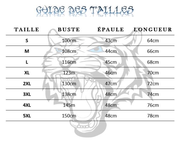 guide des taille veste tigre