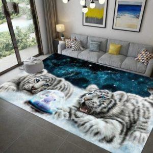 tapis tigre bébé blanc