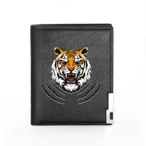 portefeuille tigre Tête Furie noir