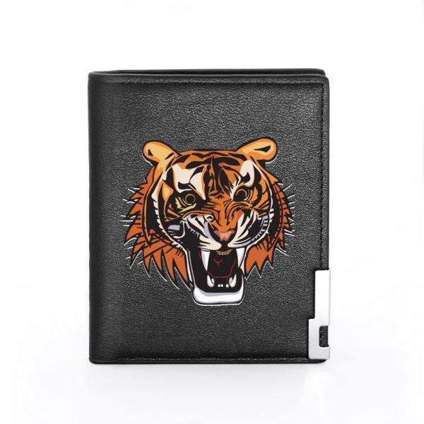 portefeuille tigre Caricature Sauvage plein noir