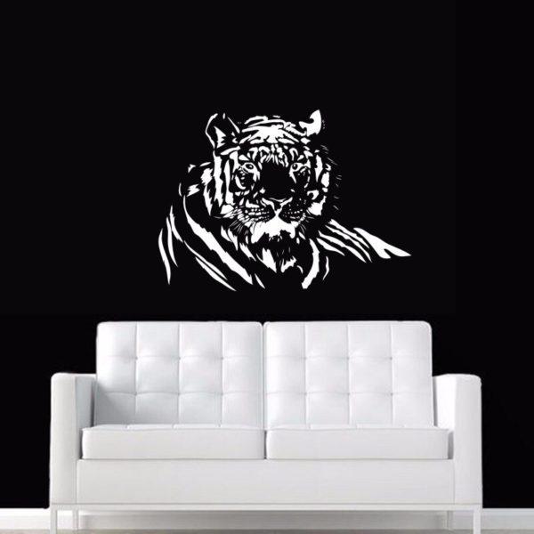 stickers tigre portrait blanc