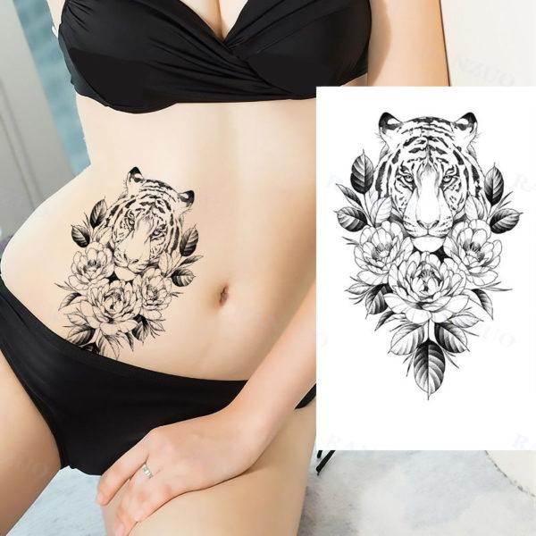 tatouage tigre Collier Fleure