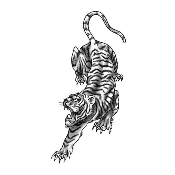 tatouage tigre En Chasse
