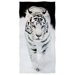 serviette tigre Fauve Blanc