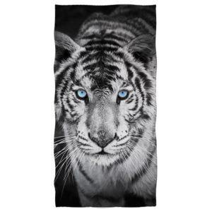 serviette tigre Fauve Yeux Bleu