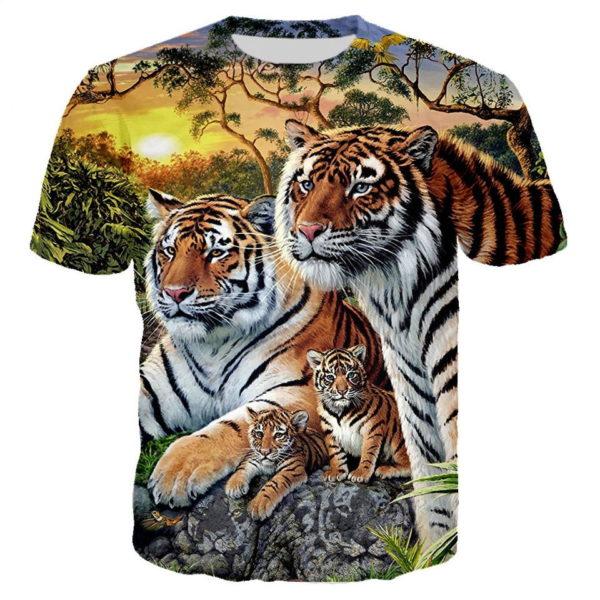 t-shirt tigre famille de fauve