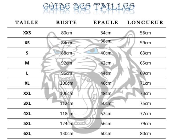 guide des tailles t-shirt tigre Esprit Enflammé