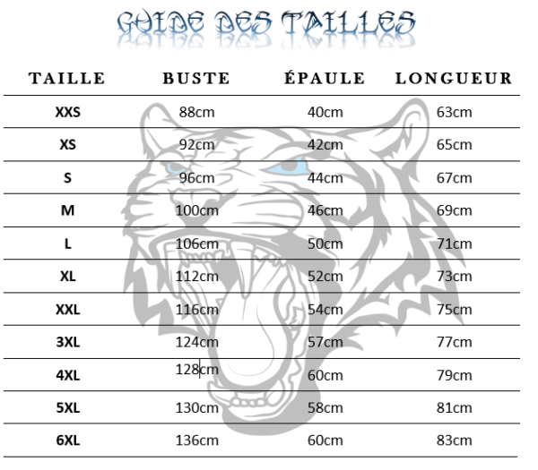 guide des tailles T-Shirt Tigre Gueule Lumineuse