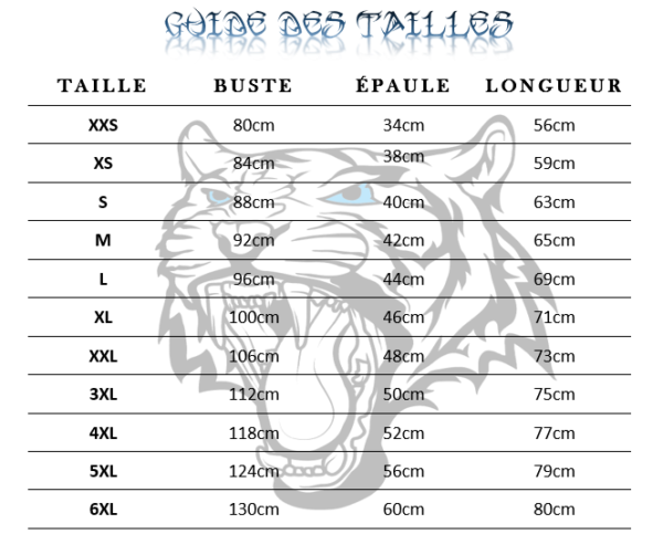 guide des tailles T-Shirt Tigre Luminescent Curieux