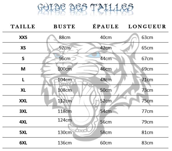 guide des tailles t-shirt tigre Prédateur Astral