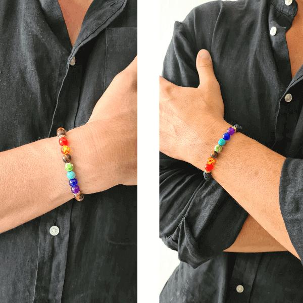 bracelet homme pierre de lave chakras