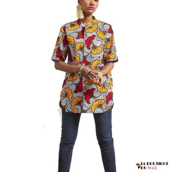 Chemise longue en imprimé Dashiki pour Femme