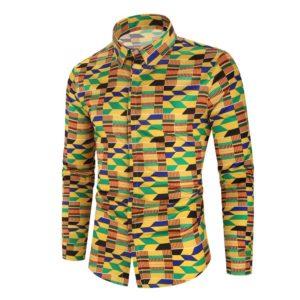 Chemise à Manches Longues pour Hommes Kitenge