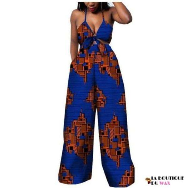 Ensemble deux pièces pour les femmes en imprimer Dashiki, pantalon large- laboutiqueduwax.fr (12)