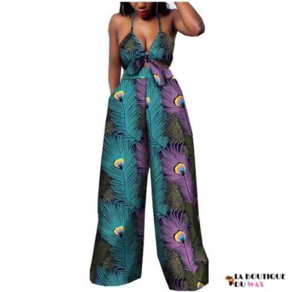 Ensemble deux pièces pour les femmes en imprimer Dashiki, pantalon large- laboutiqueduwax.fr (3)