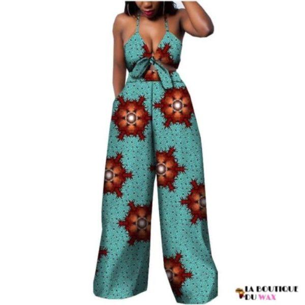 Ensemble deux pièces pour les femmes en imprimer Dashiki, pantalon large- laboutiqueduwax.fr (5)