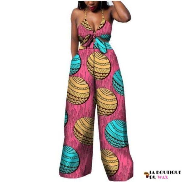 Ensemble deux pièces pour les femmes en imprimer Dashiki, pantalon large- laboutiqueduwax.fr (7)
