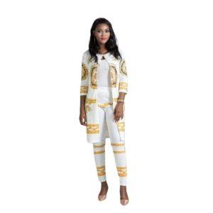 Ensemble pour Femme en Bazin riche Africain Blanc - laboutiqueduwax.fr