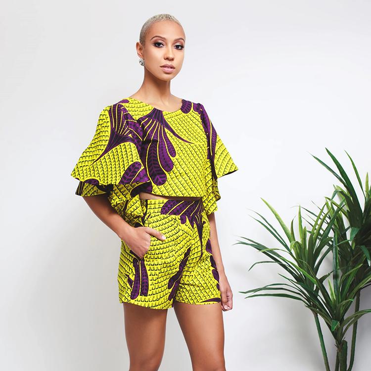 Bulk Custom Halter Top Leisure Clothes Wax Print Ankara Women Short Set