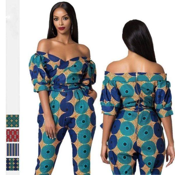 Pantalon Africain manches hors épaule combinaison pour Femme - laboutiqueduwax.fr