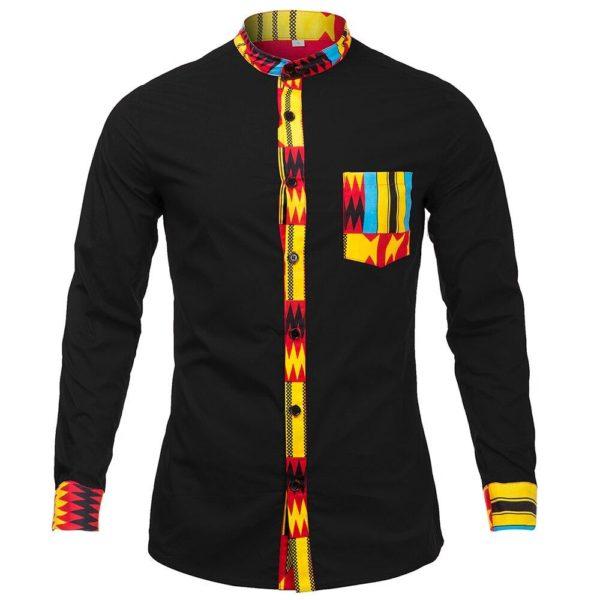 Chemise Noir à manches longues pour Hommes imprimé Kente