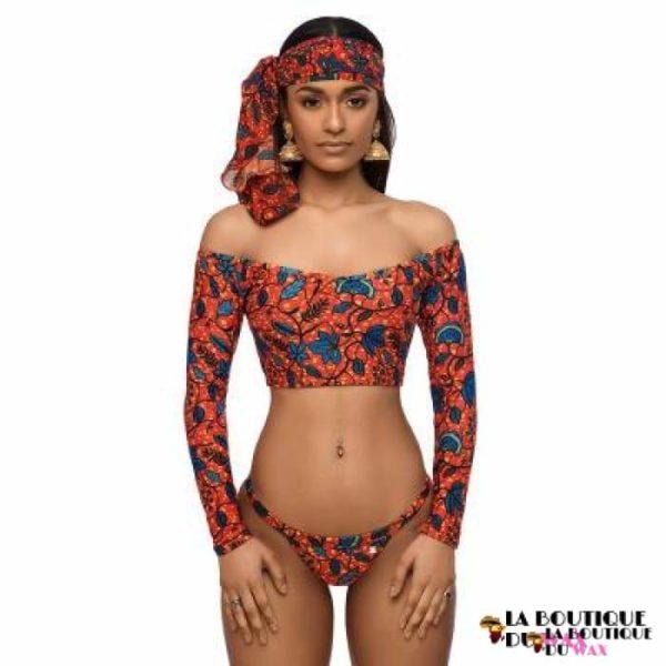 Bikini - Maillots de Bain à Manches Longues imprimé Wax