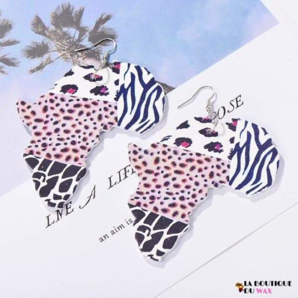 Boucle d'oreille Vintage carte d'Afrique - 6 - Boucles