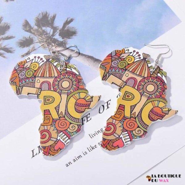 Boucle d'oreille Vintage carte d'Afrique - 8 - Boucles