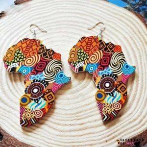 Boucle d'oreille Vintage carte d'Afrique - Boucles