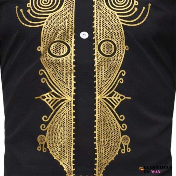 Chemise de style africaines pour hommes Bazin riche.