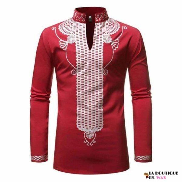 Chemise en imprimé Dashiki avec col Mao et V - Vêtements