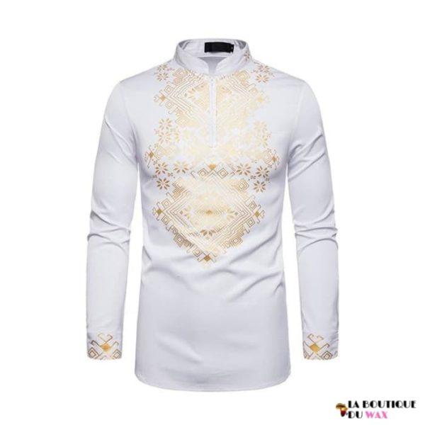 Chemise pour hommes en imprimer Dashiki avec fermeture sur le buste