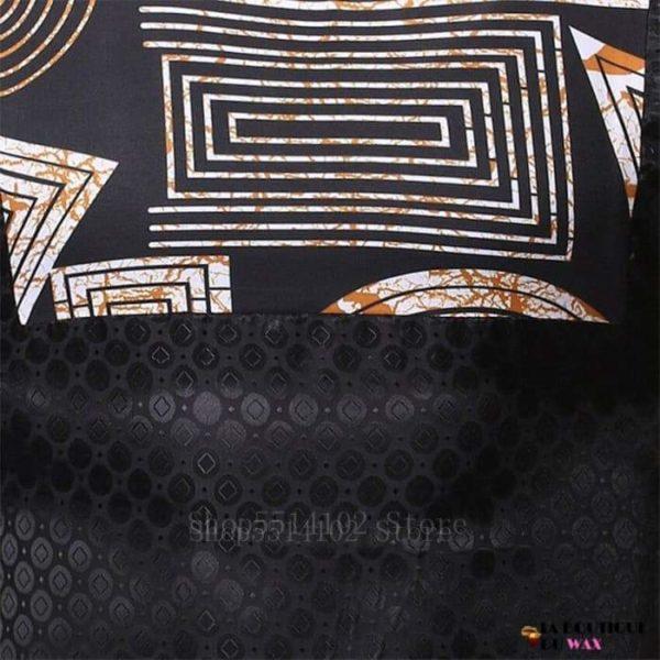 Chemise Noir en imprimé Dashiki et Bazin Riche