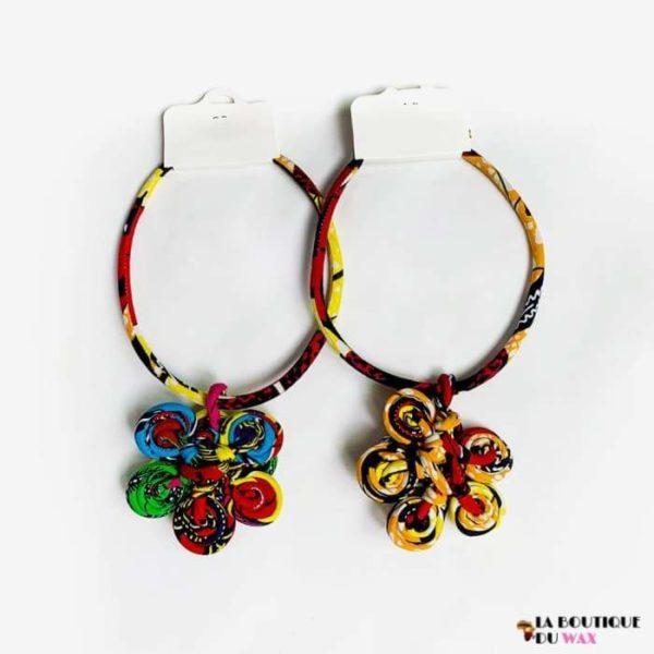Collier Traditionnel semi circulaire en tissus Wax