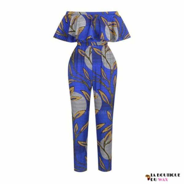 Ensemble combinaison imprimé Wax avec pantalon et bustier -