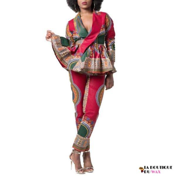 Ensemble imprimé Dashiki pantalon et chemisier manches longues