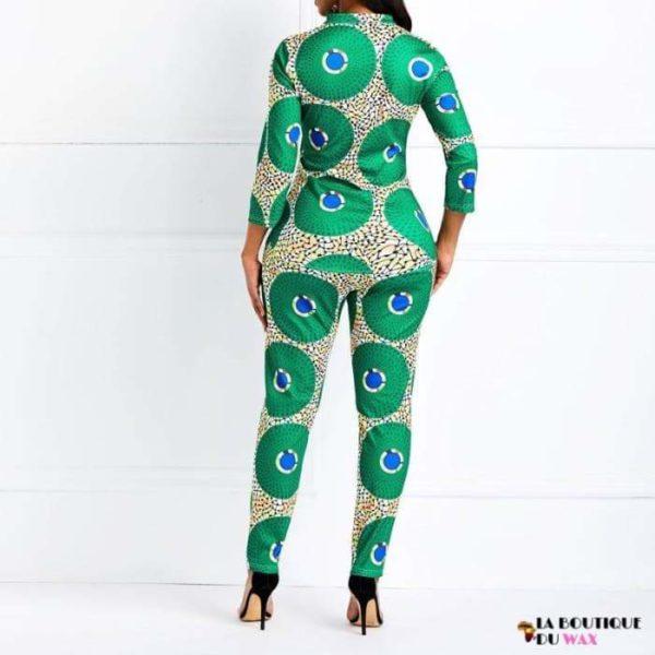 Ensemble imprimé Dashiki pantalon et haut manches mi-long