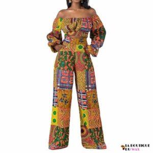 Ensemble imprimé Wax bustier manches longues et pantalon large