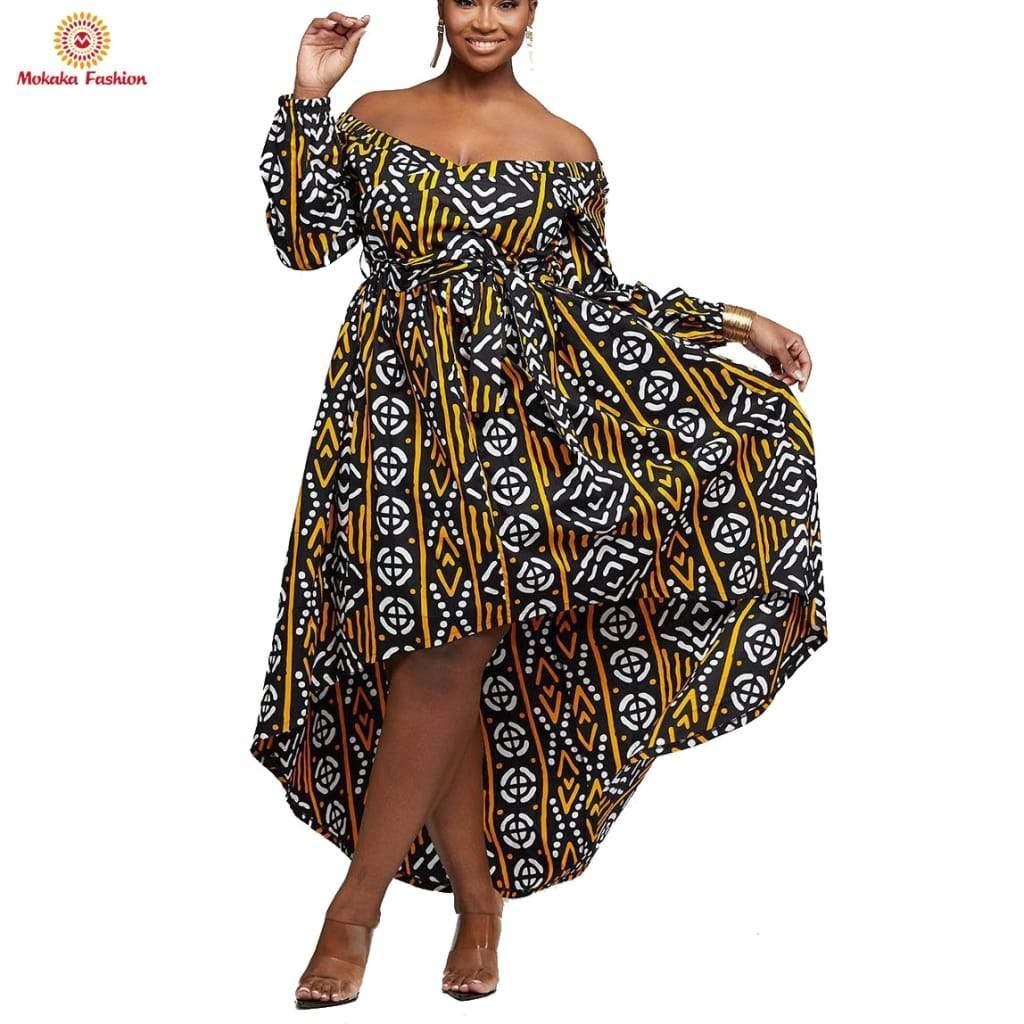 Long Sleeve O-neck Flare Sleeve African Wax Dress Styles