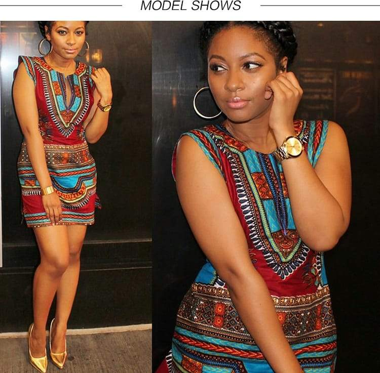 Robe Africaine juste au corps en imprimée Dashiki