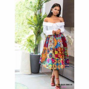 Jupe imprimée Wax en polyester - Vêtements style africain