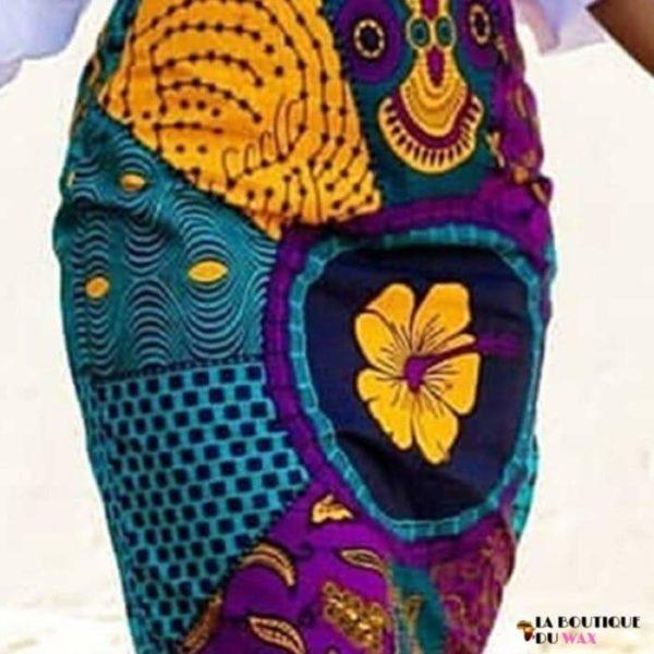 Jupe imprimée Wax multi-couleurs. - Vêtements style africain